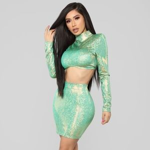 Shining Star Holographic Matching Skirt Set- Jade